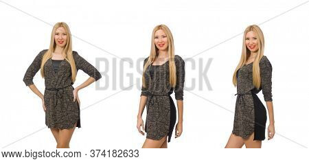 Woman in gray dress isolated on white
