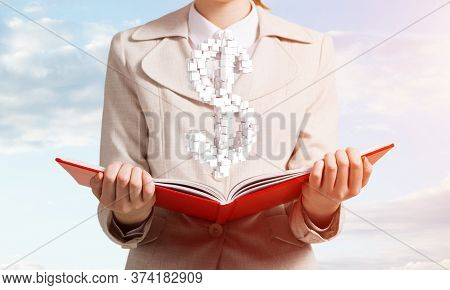 Businesswoman With Dollar Sign Above Opened Notebook. Investment And Money Saving Services. Elegant