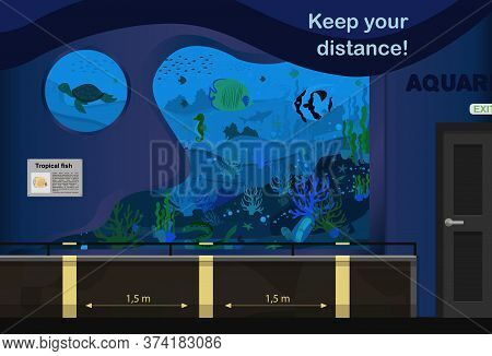 Vector Illustration Of The Aquarium. An Internal Room With Aquariums And Markings For Keeping The Di