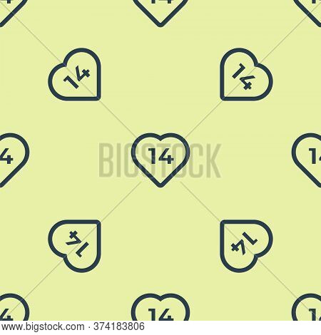Blue Heart Icon Isolated Seamless Pattern On Yellow Background. Romantic Symbol Linked, Join, Passio