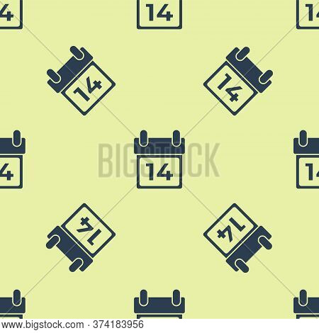 Blue Calendar With February 14 Icon Isolated Seamless Pattern On Yellow Background. Valentines Day.