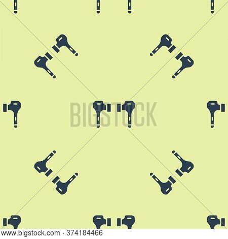 Blue Air Headphones Icon Icon Isolated Seamless Pattern On Yellow Background. Holder Wireless In Cas