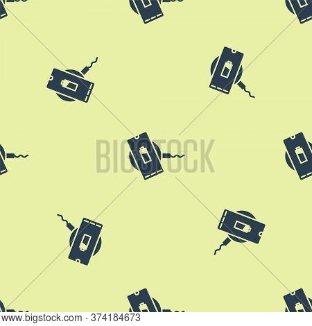 Blue Smartphone Charging On Wireless Charger Icon Isolated Seamless Pattern On Yellow Background. Ch