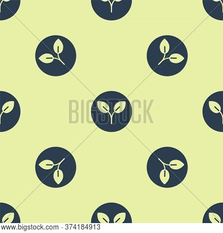 Blue Bio Fuel Icon Isolated Seamless Pattern On Yellow Background. Eco Bio. Green Environment And Re
