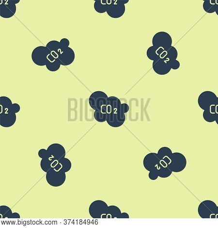 Blue Co2 Emissions In Cloud Icon Isolated Seamless Pattern On Yellow Background. Carbon Dioxide Form