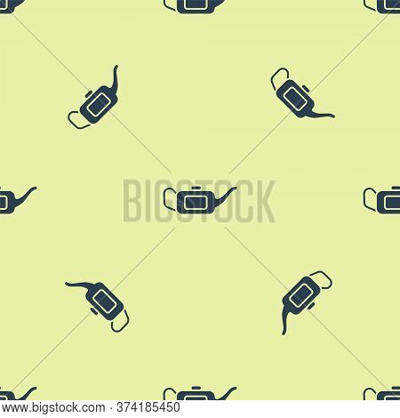 Blue Canister For Motor Machine Oil Icon Isolated Seamless Pattern On Yellow Background. Oil Gallon.