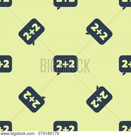 Blue Math System Of Equation Solution On Speech Bubble Icon Isolated Seamless Pattern On Yellow Back