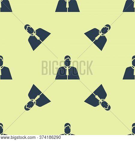 Blue Lawyer, Attorney, Jurist Icon Isolated Seamless Pattern On Yellow Background. Jurisprudence, La