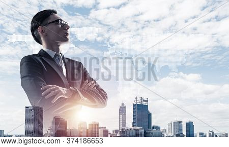 Double Exposure Of Elegant Businessman And Modern Busines City With Towers And Skyscrapers