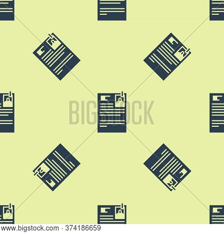 Blue Lawsuit Paper Icon Isolated Seamless Pattern On Yellow Background. Vector Illustration