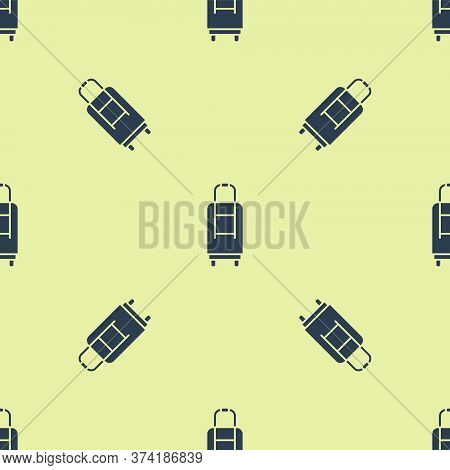 Blue Suitcase For Travel Icon Isolated Seamless Pattern On Yellow Background. Traveling Baggage Sign