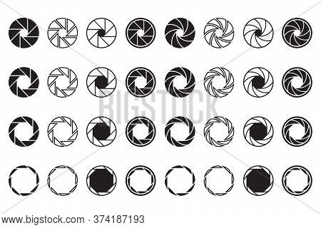 Camera Lens Signs Set. Shutter Aperture Or Diaphragm Graphic Symbols. Vector Illustrations For Optic