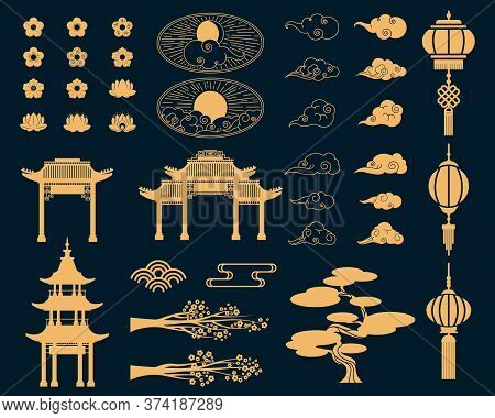 Asian Decorative Elements Set. Gold Lanterns, Japanese Sakura Blossoms And Tree Branches, Traditiona