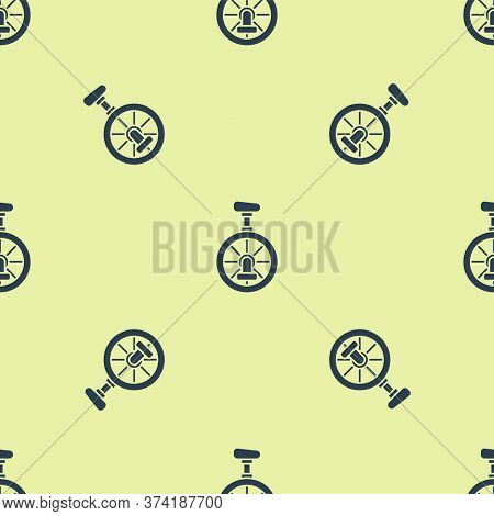 Blue Unicycle Or One Wheel Bicycle Icon Isolated Seamless Pattern On Yellow Background. Monowheel Bi