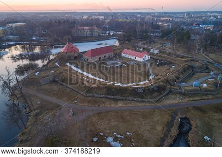 The Ancient Korela Fortress On An April Evening (shooting From A Quadrocopter). Priozersk, Russia