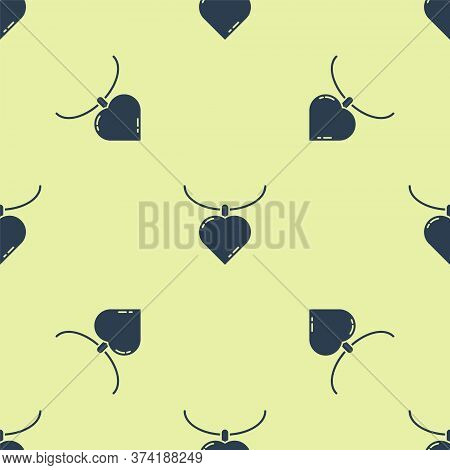 Blue Necklace With Heart Shaped Pendant Icon Isolated Seamless Pattern On Yellow Background. Jewelle