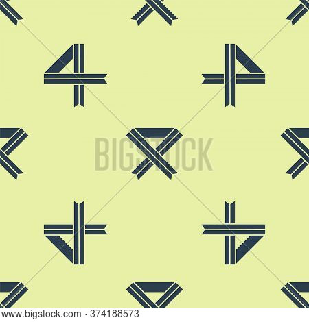 Blue Breast Cancer Awareness Ribbon Icon Isolated Seamless Pattern On Yellow Background. World Breas