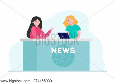 Two Women Telling News In Studio. Laptop, Reporter, Anchorperson Flat Vector Illustration. Tv Broadc