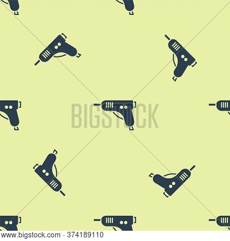 Blue Electric Hot Glue Gun Icon Isolated Seamless Pattern On Yellow Background. Hot Pistol Glue. Hot