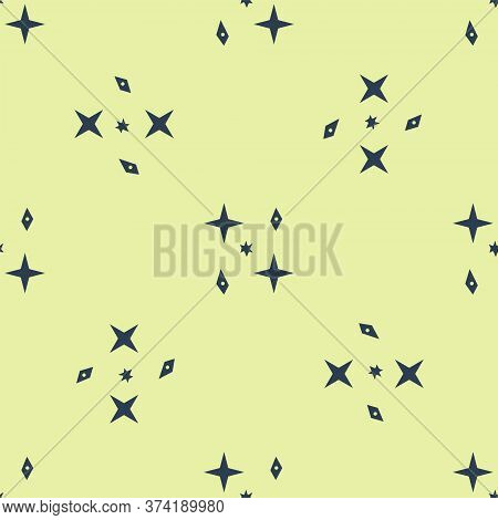 Blue Falling Stars Icon Isolated Seamless Pattern On Yellow Background. Meteoroid, Meteorite, Comet,