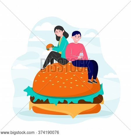 Tiny People Sitting On Big Burger And Eating. Friend, Meal, Junk Flat Vector Illustration. Nutrition