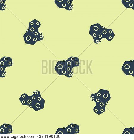 Blue Asteroid Icon Isolated Seamless Pattern On Yellow Background. Vector Illustration