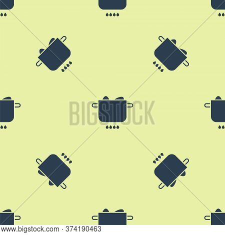 Blue Egg In Hot Pot Icon Isolated Seamless Pattern On Yellow Background. Boiled Egg. Happy Easter. V