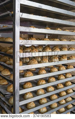 Fresh Made Coconut Sultanas On Rack, Delicious Traditional Pastries From Hornachos, Extremadura, Spa
