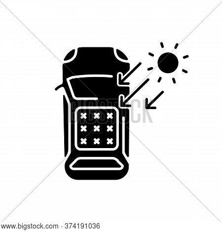 Solar Car Black Glyph Icon. Automobile On Renewable Sun Energy Silhouette Symbol On White Space. Aut
