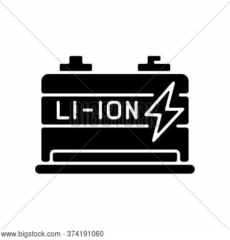 Lithium Ion Battery Black Glyph Icon. Modern Electric Equipment Silhouette Symbol On White Space. El
