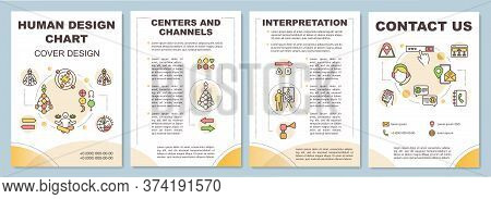 Human Design Chart Brochure Template. Graph Of Energy Channels. Flyer, Booklet, Leaflet Print, Cover