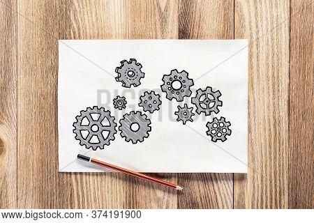 Rotating Gears Pencil Hand Drawn. Mechanical Technology And Machine Engineering Symbol. Engine Mecha