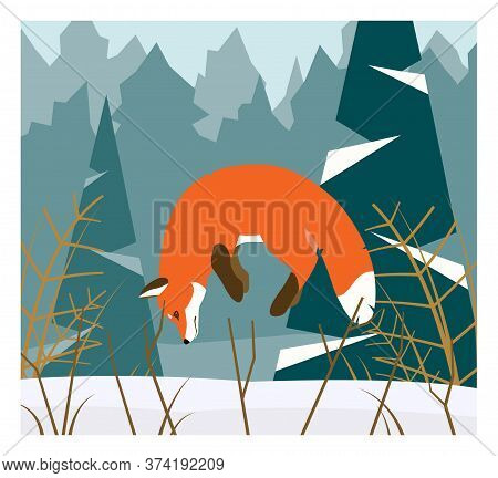 Illustration Of Red Fox Hunting In The Snowy Forest. Stock Vector. Fox Jumping To Hunt For Mouse.