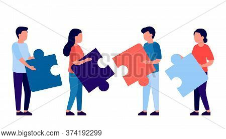 People Assembling Jigsaw Puzzle. Coworking And Business Partnership Man And Woman Concept. Team Meta