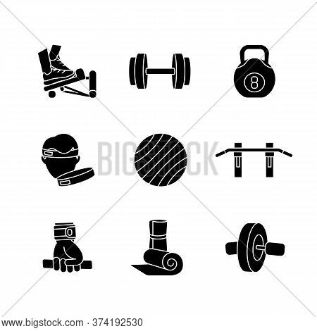 Workout Equipment Black Glyph Icons Set On White Space. Strength Training At Home, Fitness Exercise