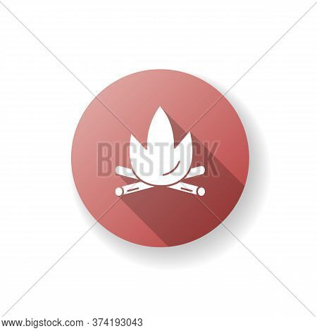 Fireplace Red Flat Design Long Shadow Glyph Icon. Burning Flame For Campsite. Campfire For Hiking In