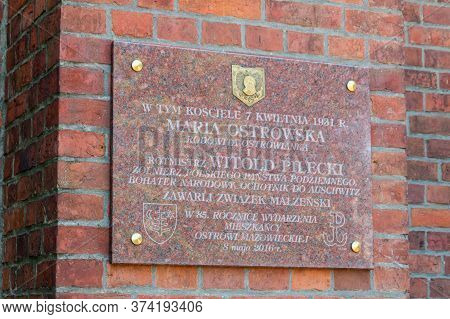 Ostrow Mazowiecka, Poland - June 2, 2020: Plaque On The Church Commemorating The Marriage Of Maria O