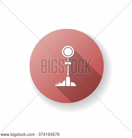 Sign Post Red Flat Design Long Shadow Glyph Icon. Traffic Sign For Urban Infrastructure. Guidepost F