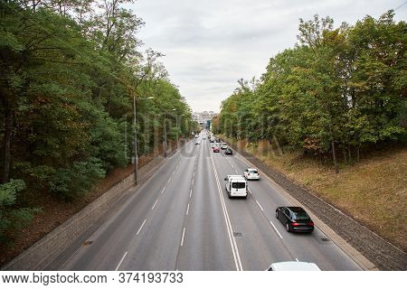 Motorway Out Of City. Going Cars On The Road.