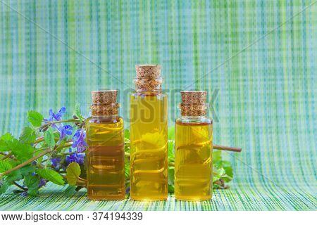 Bugleherb Essential Oil In A Beautiful Bottle On The Wooden Background