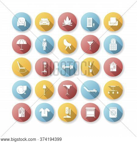 Apartment Amenities Flat Design Long Shadow Glyph Icons Set. House Furniture And Lighting. Condo Bui