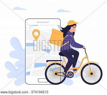 Courier Girl Delivers Parcel On A Bicycle. Order Food Online.