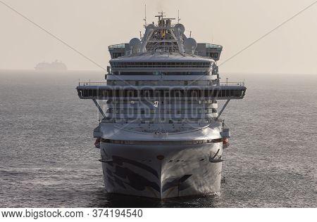 Carlisle Bay, Barbados, West Indies - May 16, 2020: Emerald Princess Cruise Ship Anchored Next To Ba