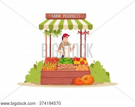 Female Farmer Sell Products Semi Flat Rgb Color Vector Illustration. Local Production Of Fresh Veget