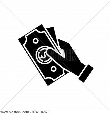 Hand Hold Money Black Glyph Icon. Cash For Client. Business Revenue. Employee Salary. Bank Benefit.