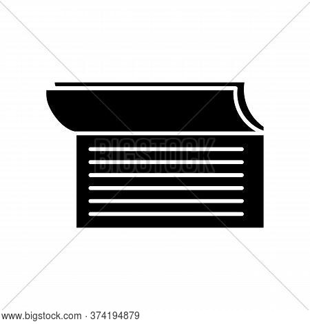 Checkbook Black Glyph Icon. Document For Commerce. Payroll For Payment. Check Book Notes. Accounting