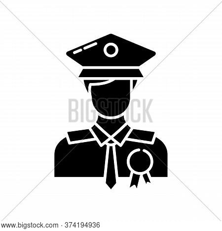 Police Officer Black Glyph Icon. Military Patrol. Male Guard. Deputy Officer. Captain In Hat. Agency