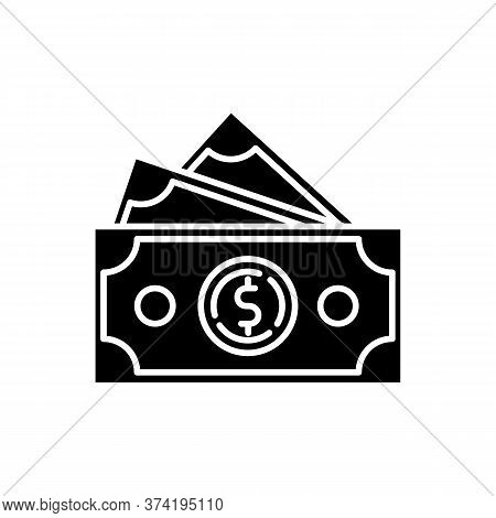 Dollar Banknotes Black Glyph Icon. Salary Payout. Pile Of Money. Financial Operation. Currency In Pa