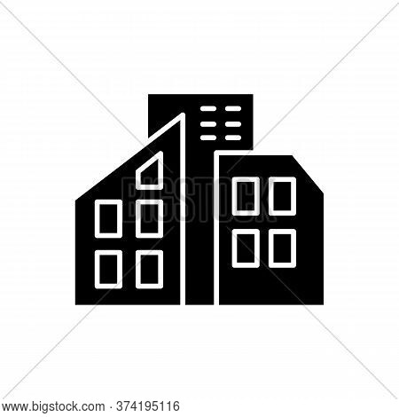 Smart City Black Glyph Icon. Urban Office Center. City Skyscrapers. Condo Building. Tall Houses. Tow