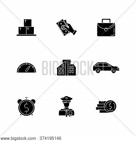 Loan Money Black Glyph Icons Set On White Space. Cash For Business. Investment In Real Estate. Buy P